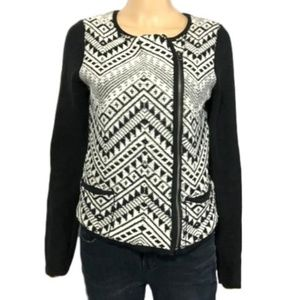 On Trend Tribal Print Moto Style Cardigan